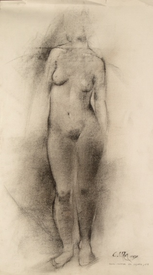 Nude, 1987 - Charcoal on paper - 35 x 60 cm
