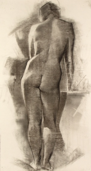 Nude, 1987 - Charcoal on paper - 55 x 102 cm